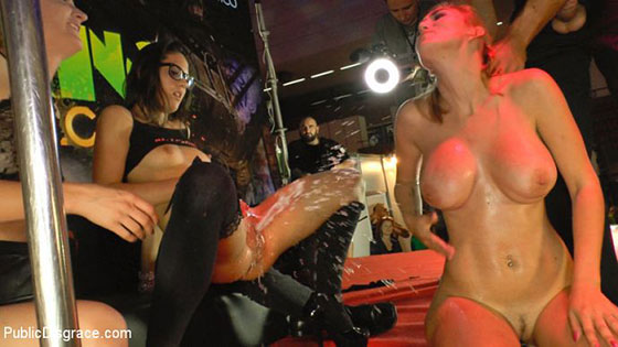 PublicDisgrace: Mona Wales, Valeria Blue and Carolina Abril, Two Dicks, Three Pussies and Thousands of Onlookers