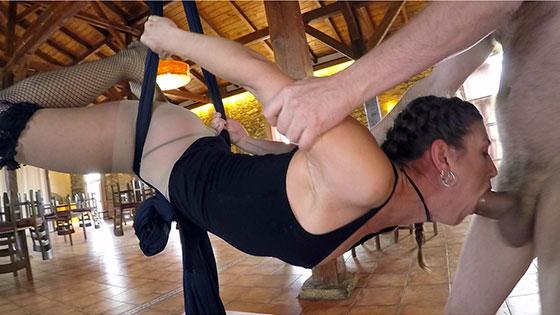 CocksXL: Julia Roca, Hanging by an XL Cock