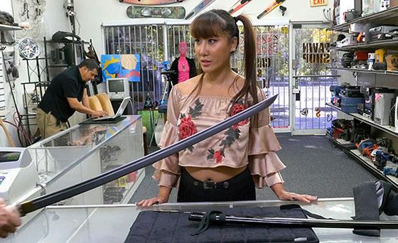 XXXPawn: Tiffany Rain, Asian Chick Exchanges Family Sword For White Man's Flesh Sword